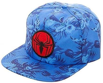 71b61f8f5 Marvel Comics Spiderman Mono Floral Slouch Flat Bill Hat Blue