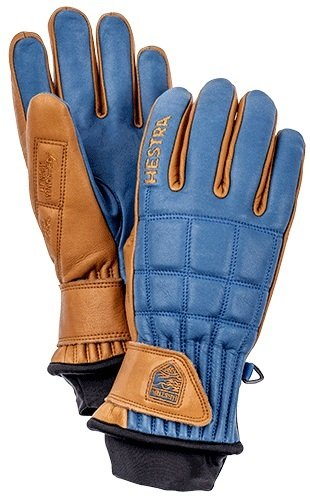 Hestra Ski Gloves: Henrik Pro Model Leather Winter Cold Weather Gloves, Royal Blue/Cork, 8