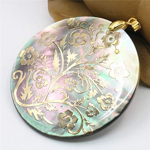 Natural Accessories Multicolor Abalone Sea Pearl Shell Pendant   Flower Jewelry Making 51mm   Christmas Women Girls Gifts