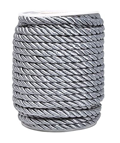 Mandala Crafts 5mm 3/16 Inch Rayon Home Décor Piping Braided Trim Rope Twisted Cord (5mm, Silver) - Rayon Twist Cord