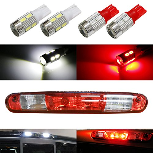 912 Bulb (iJDMTOY (4) High Power 10-SMD 921 912 920 168 T10 LED Replacement Bulbs For Chevrolet Ford GMC Honda Nissan Toyota Truck 3rd Brake Lamp (Two Xenon White, and Two Brilliant)