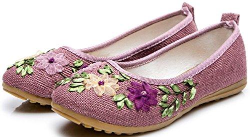 Satuki Handgemaakte Geborduurde Damesschoenen Voor Dames, Instapper Casual Loafer Platte Florale Pantoffels Paars