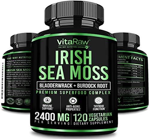 Organic Irish Sea Moss Capsules w/ Burdock Root & Bladderwrack Powder 2400mg Seamoss Pills for Immune Support, Joint…