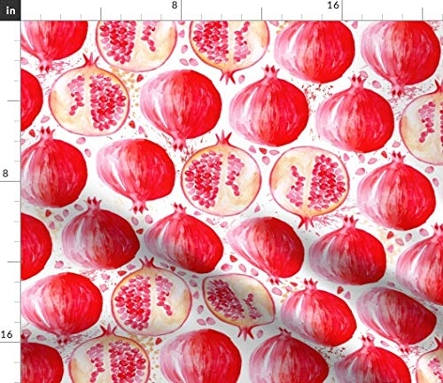 Spoonflower Watercolor Fruit Fabric - Pomegranate Red Grenada Skillshare Whimsical Fruits Print on Fabric by The Yard - Lightweight Cotton Twill for Sewing Bottomweight Fashion Apparel Home Decor