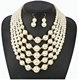 Shineland Elegant Multilayers Faux Pearl Bead Cluster Collar Bib Choker Necklace and Earrings Set
