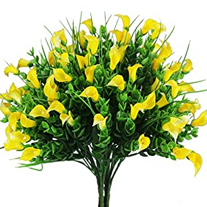 E-HAND Outdoor UV Resistant Artificial Lily Flowers Cemetery Fake Plants Faux Shrubs Calla Plastic Greenery 107