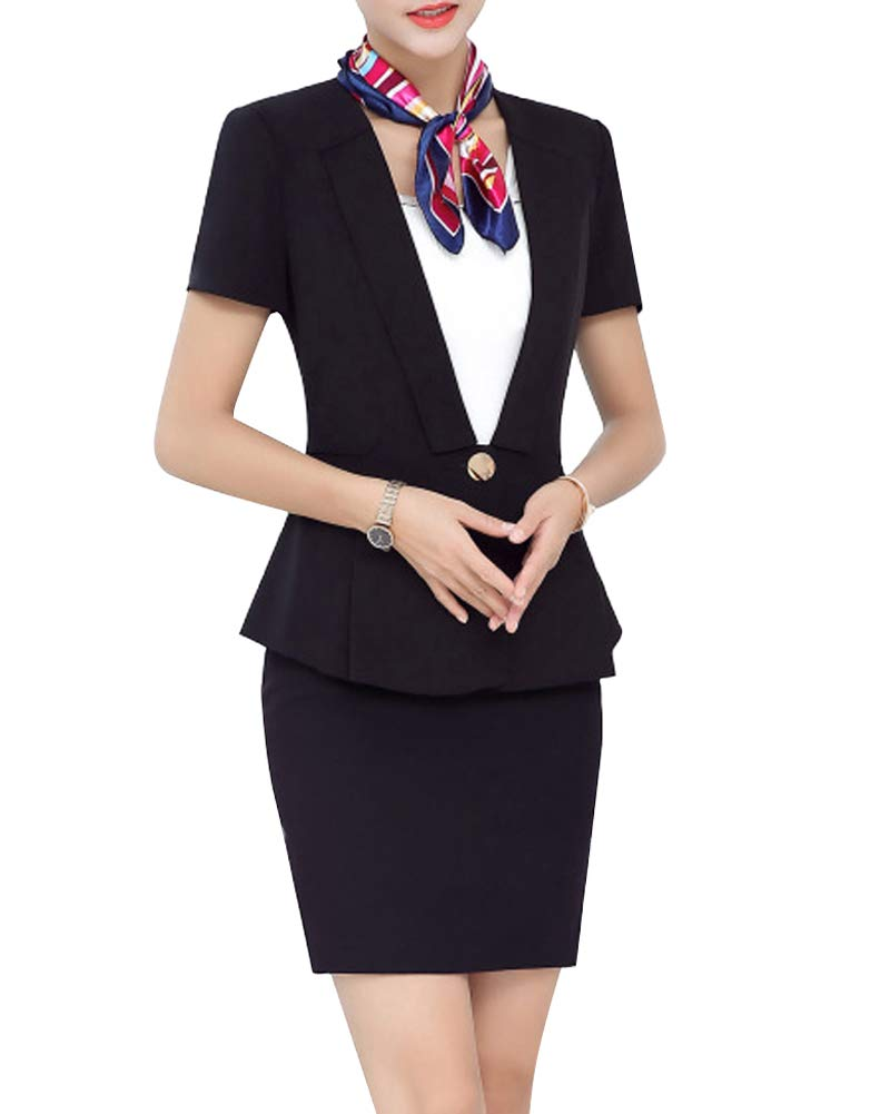 Women 2 Pieces Formal Office Blazer Suit Business Work Jacket Skirt Suit Set