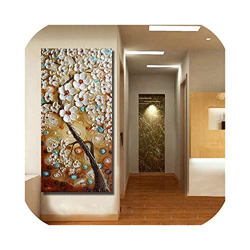 Goods-Store-uk Modern Canvas on Oil Painting Palette knife arbol 3D flores pinturas hogar salon decoracion arte pared 210x420cm, violeta