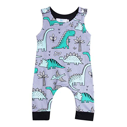 Newborn Baby boy Girl Romper Jumpsuit Sleeveless Animal Cartoon Print Bodysuit Overalls Outfits Clothes (Purple-Dinosaur,12-18 Months)]()