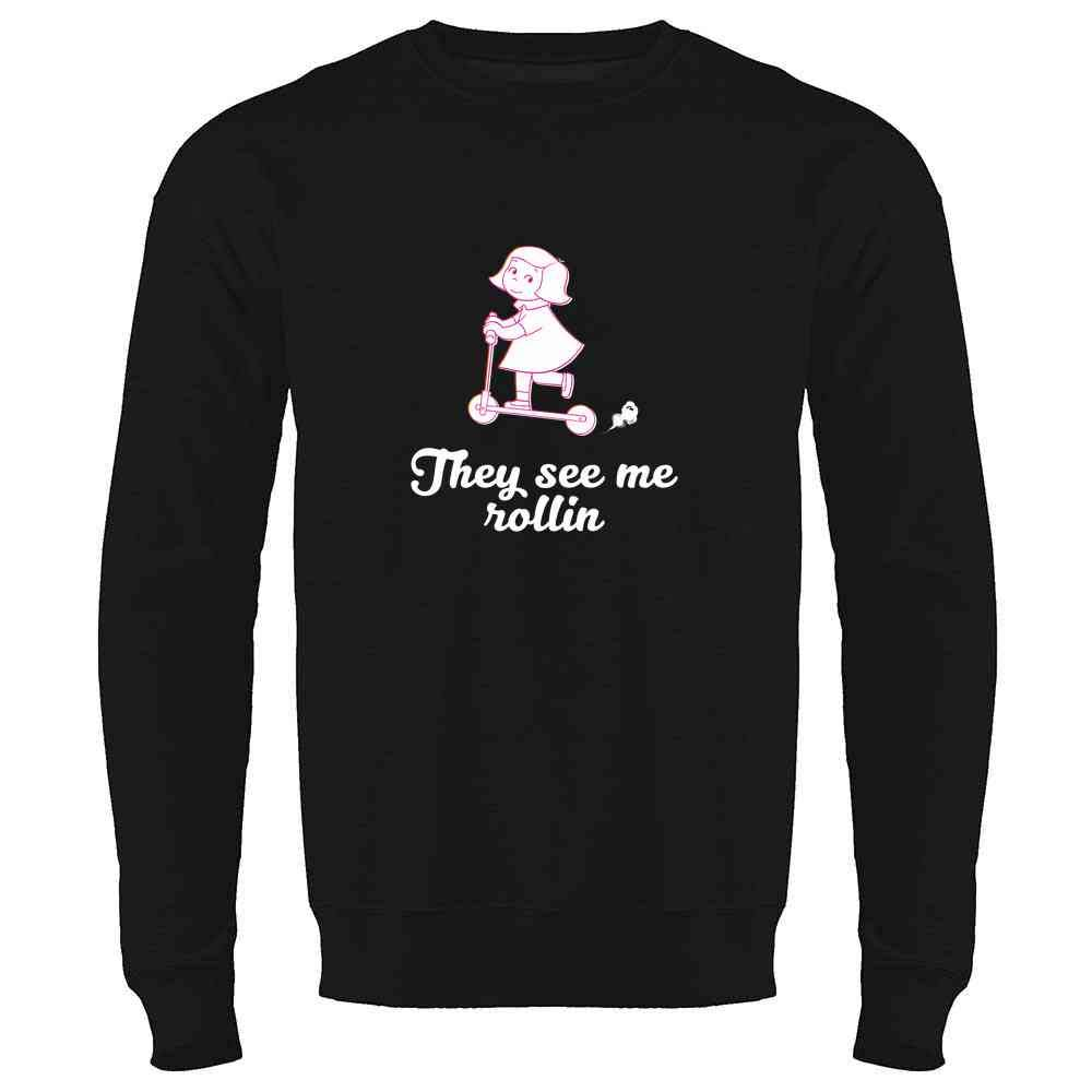 Pop Threads They See Me Rollin Scooter Girl Mens Fleece Crew Sweatshirt