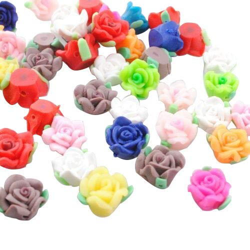 Chenkou Craft 30pcs Mini Assorted Roses Flowers FIMO Polymer Clay Beads 10mm With Cross Hole