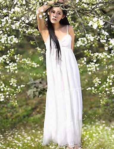 PU&PU Robe Aux femmes Décontracté , Couleur Pleine A Bretelles Maxi Polyester / Mousseline de soie / Dentelle , white-l , white-l