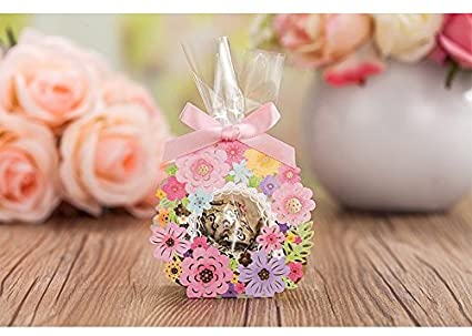 50 pack roses flowers laser cut favor candy box bomboniere with ribbons bridal shower wedding party