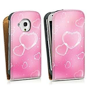 Diseño para Samsung Galaxy S3 Mini I8190 DesignTasche Downflip white - Bubble Hearts