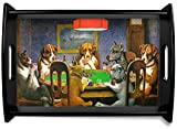 Dogs Playing Poker 1903 C.M.Coolidge Black Wooden Tray - Small