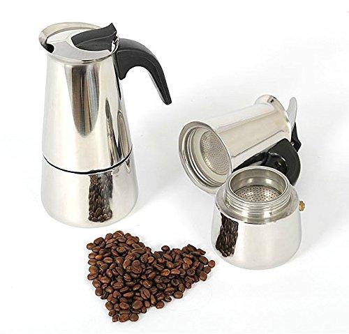 Espresso Coffee Maker Pot Stovetop Moka Coffee Pot Stainless Steel Latte Percolator with Bonus Scoop (2 cups/100ml) by BEMINH (Image #4)