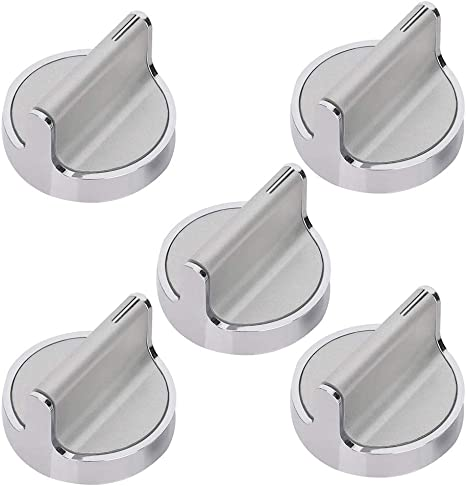 Compatible with Whirlpool Burner//Stove//Range W10594481 Stainless Steel Burner Control Knob Replacement Part by Canamax Replaces WPW10594481 AP6023301 PS11756643 Pack of 5