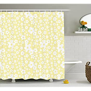 Amazon.com: Floral Shower Curtain by Ambesonne, Graphic Daisy ...