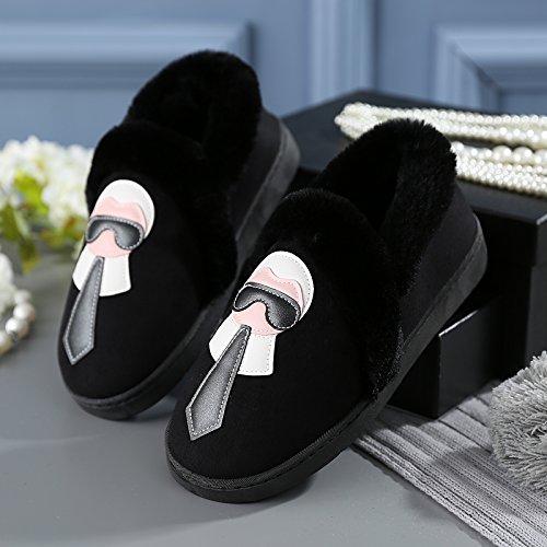 Y-Hui gli amanti della femmina inverno pantofole di cotone borsa con scarpe maschili Home Home arredo caldo pantofole spessa alla fine dell'inverno,36-37 (Fit per 35-36 piedi),Nero