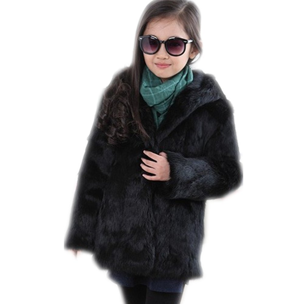 The Children's Place Little Girls' rabbit real Fur Coat (3-5 years old, black)