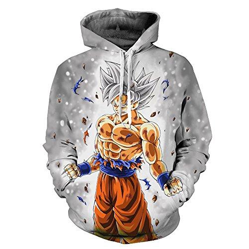 Yangxinyuan Unisex Hoodies Dragon Ball Z Goku 3D Print Pullover Sportswear Sweatshirt Tops (08, M)