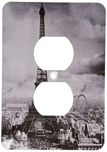 3dRose lsp_6793_6 Eiffel Tower Paris France 1889 Black and White 2 Plug Outlet Cover, Multicolor