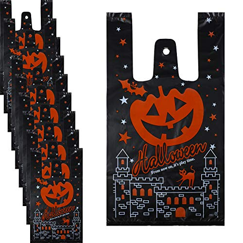 Cute Halloween Treats For Parties (100 Pieces Halloween Treat Bags Trick or Treat Cookie Bags Cute Pumpkin Plastic Bags with Handles for Halloween Party)