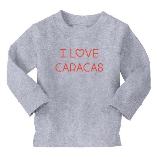 Mashed Clothing I Love Caracas Toddler Long Sleeve T-Shirt (Heather Grey, 5/6T)