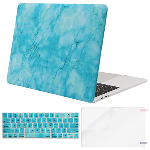 MOSISO MacBook Pro 13 Case 2019 2018 2017 2016 Release A1989 A1706 A1708 w/ & w/o Touch Bar,Plastic Pattern Hard Case&Keyboard Cover&Screen Protector Compatible Newest Mac Pro 13,Hot Blue Marble