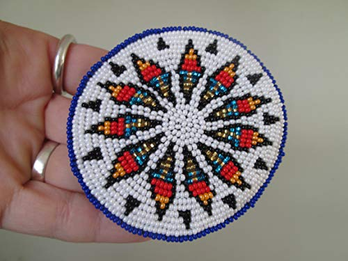 - Hand beaded red white blue round disc rosette medallion with stars Guatemalan Fair trade design hair clip barrette glass seed beads regalia pow wow Guatemala Native American design style beadwork