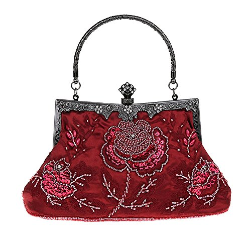 Heyjewels Vintage Handmade Damen Beaded Perlen Clutch Glitzer Blumen Abendtasche Mehrfarbig Weinrot lb6Nl00VD