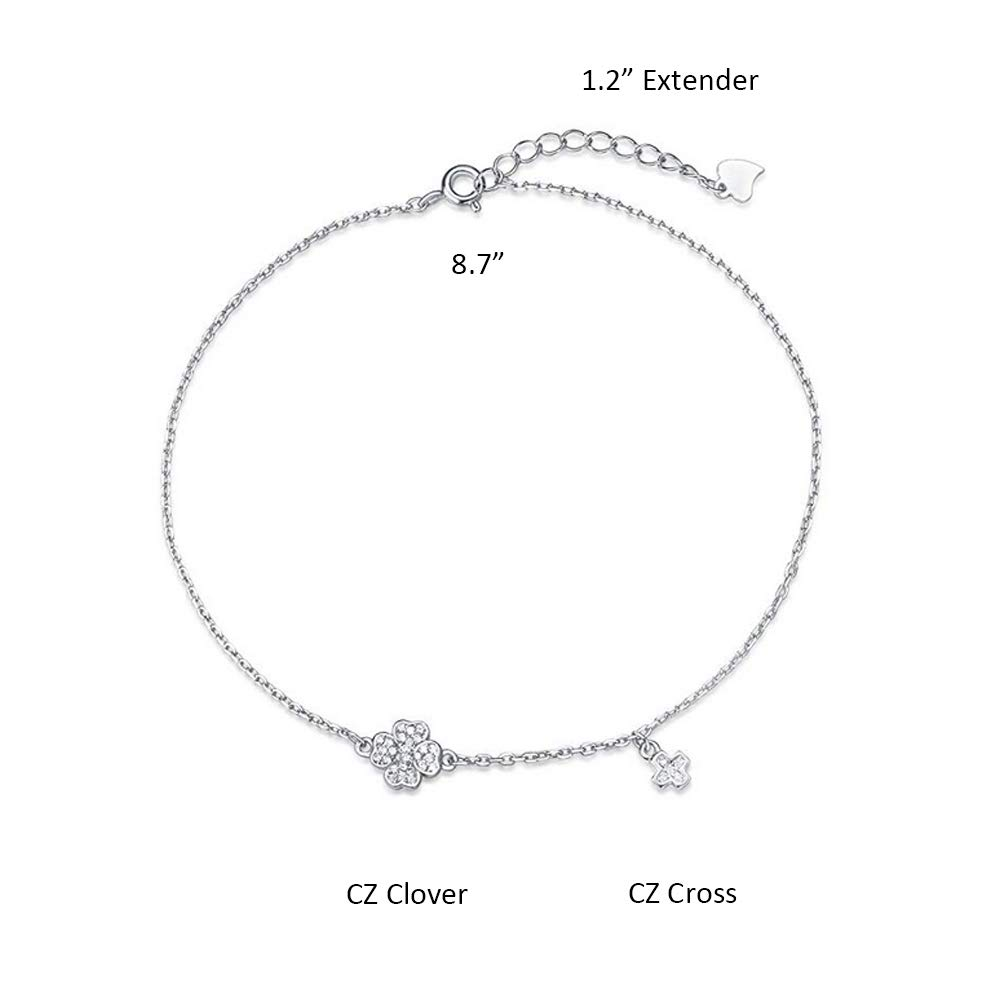 Agvana 925 Sterling Silver Heart//Clover Anklet Setting Cubic Zirconia CZ Beach Anklet Bracelet Jewelry for Women Adjustable Foot Chain ANKL000002