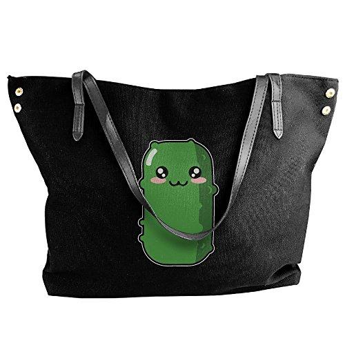 Handbag Pickle Large Handbags Shoulder Women's Kawaii Black Tote Canvas w6zIIq