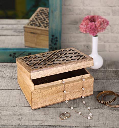storeindya Jewelry Box Keepsake Trinket Storage Box Rustic Wooden Organizer with Hand Carved Geometric Pattern