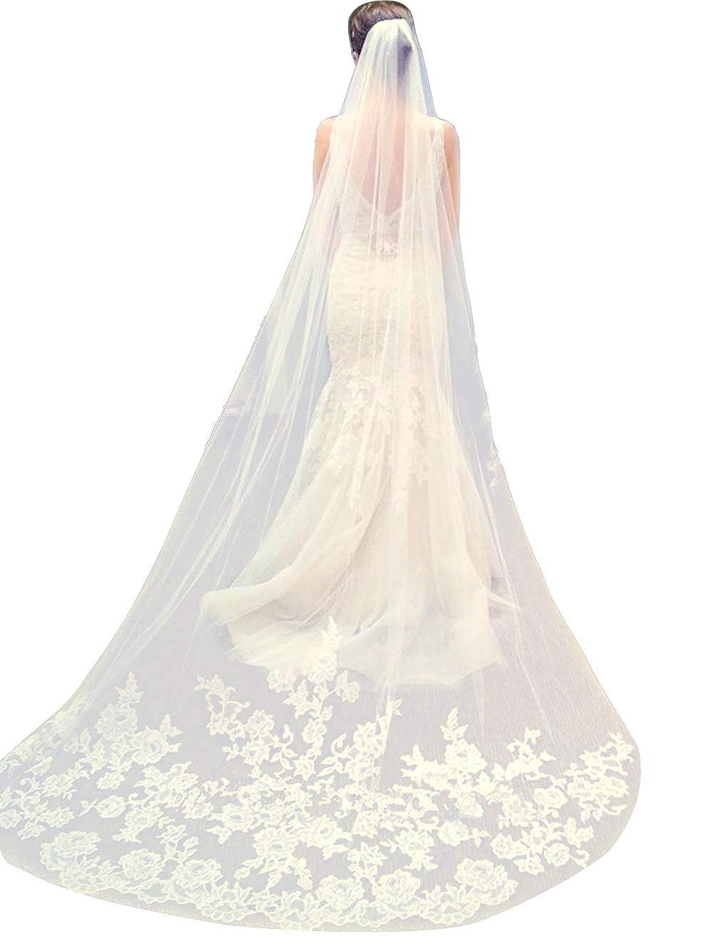 Qivange Wedding Veil White Ivory Cathedral Veil Lace Applique Edge Long Bridal Veil with Comb