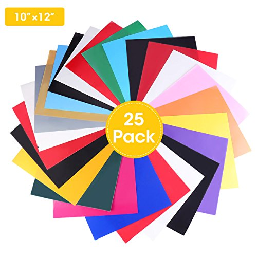 Heat Transfer Vinyl 25 Sheets, 16 Colors 12''x 10'', Heat Transfer Bundle Iron on HTV for T Shirts, Hats, Clothing Heavy Duty Vinyl for Silhouette Cameo, Cricut Or Heat Press Machine Tool by ARTISTORE