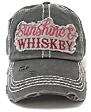 Vintage Black Sunshine & Whiskey Distressed Hat