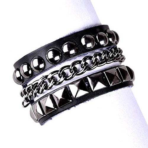 Epinki Mens Womens Genuine Leather Bracelet Punk Rock Chian Adjustable Black