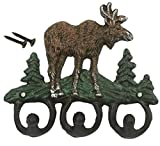 Wrought Iron Key Hooks - Natural Moose Theme Set of 3 Hooks for Interior Decoration, Clothing, Keys, - Includes Nails