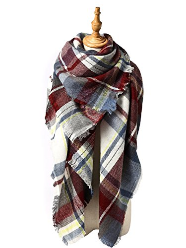 American Classic Rose - Women's Fall Winter Scarf Classic Tassel Plaid Scarf Warm Soft Chunky Large Blanket Wrap Shawl Scarves Rose Red