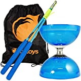 Juggle Dream Blue Cyclone Quartz 2 Triple Bearing Diabolo & Blue Superglass Diablo Sticks Set with Firetoys Bag