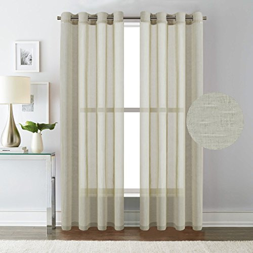 Sheer Room (H.Versailtex 52 - Inch Width by 84 - Inch Length Linen and Poly Curtain Sheers for Living Room / Nickel Grommet Top Window Panels -Set of)
