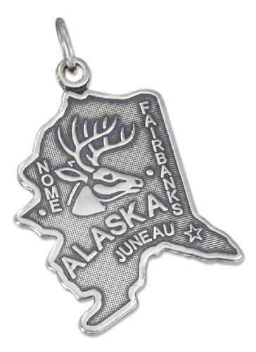 - Sterling Silver Antiqued Alaska State Charm