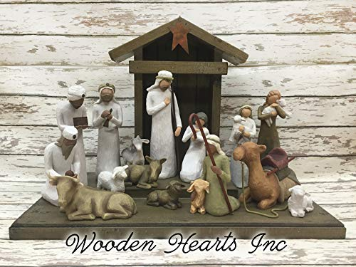STABLE for a NATIVITY *Distressed REAL Wood Stables Manger Creche (Figurines not included) *Green Red Burgundy Antique White *No Assembly! *Handmade in USA ***SALE***]()