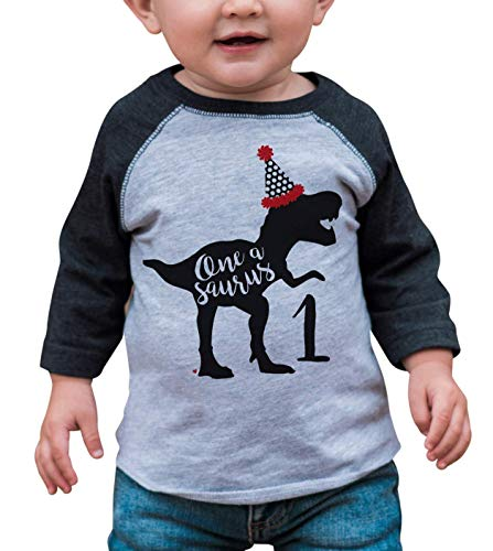 7 ate 9 Apparel Baby's Dinosaur One Birthday Grey 18 Months ()