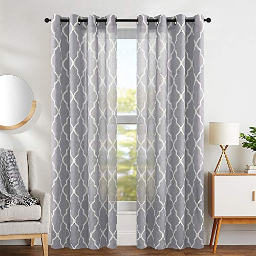 Curtain Geometric - Grey Moroccan Curtains Print Flax Linen Blend Textured Grommet Window Treatment Set for Bedroom 2 Panels Ring Top Soft Grey
