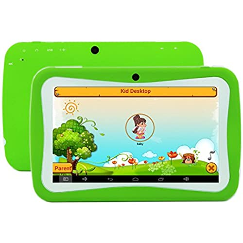 7 inch Kids Tablet PC RK3126 Quad Core 8G ROM Android 5.1 With Children Educational Apps Dual Camera PAD-Green Coupons