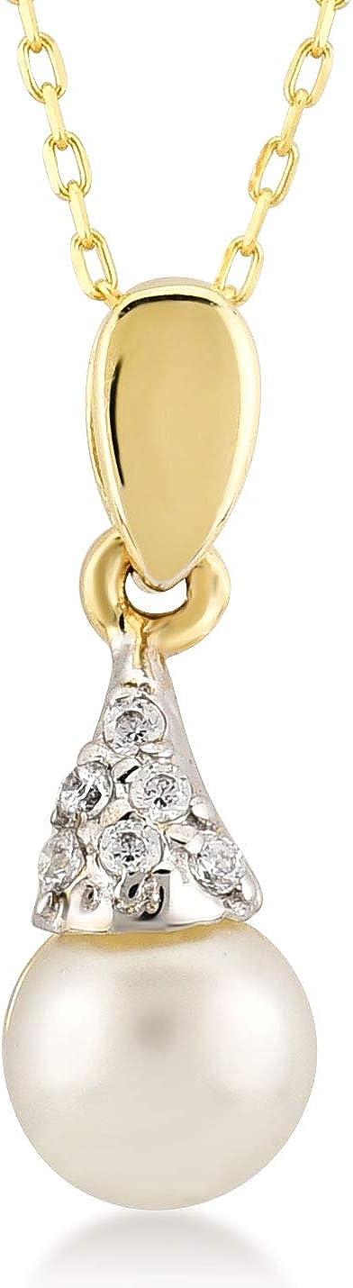 Collar para mujer de oro de 14 quilates – oro amarillo 585 real con colgante de perla Mallorca, regalo para cumpleaños, cadena de Navidad de 45 cm