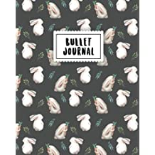 Bullet Journal: Softly White Rabbit | 150 Dot Grid Pages (size 8x10 inches) | with Bullet Journal Sample Ideas
