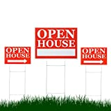 Source One 3 Pack of UV Printed Open House Signs (3 Pack, Red Square)